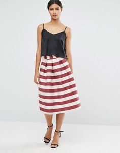 ASOS Midi Prom Skirt in Pink and Wine Stripe