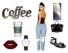 """""""Coffee date"""" by allgoodbabybaby ❤ liked on Polyvore featuring Missguided, Topshop, Rustic Arrow, Steve Madden, Givenchy, Lime Crime and Daniel Wellington"""