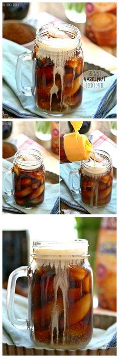 Skinny Hazelnut Iced Coffee, sugar free and fat free! Easy to make in large batches at home. DELICIOUS! | The Cookie Rookie Refreshing Drinks, Fun Drinks, Yummy Drinks, Healthy Drinks, Yummy Food, Beverages, Alcoholic Drinks, Healthy Recipes, Smoothies