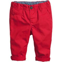 H&M Chinos $6 (€5,35) ❤ liked on Polyvore featuring pants, baby, baby boy, kids, baby stuff, children, red pants, red cotton pants, chino trousers and h&m trousers