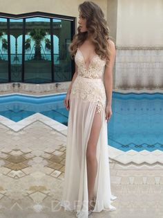 548412e264b V-Neck Split-Front Sleeveless Floor-Length Evening Dress