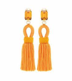 *** Boucles d'oreilles clips à pampilles et cristaux   Oscar de la Renta ***