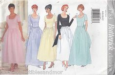 Bridesmaid Evening Dress Gown 6-12 Butterick Sewing Pattern 4783 Uncut 5 Styles