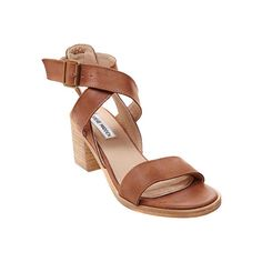 Women's Steve Madden Paalace Sandal - Tan Leather Casual ($100) ❤ liked on Polyvore featuring shoes, sandals, tan, thick heel shoes, steve madden sandals, chunky sandals, leather shoes and stacked heel sandals