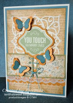 CTMH Florentine paper and Thoughtful Tidings stamp. Isn't That Sweet?!: butterfly card
