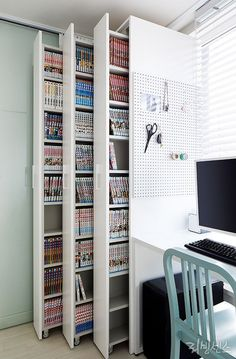 craft storage ideas for small spaces - craft storage ; craft storage ideas for small spaces ; Room Interior, Interior Design Living Room, Study Room Design, Interior Office, Studio Interior, Apartment Interior, Interior Ideas, Sewing Room Design, Art Studio Design