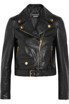 Boutique Moschino - Leather Biker Jacket - Black - IT38
