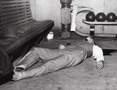 "Al Capone associate, ""Machine Gun"" Jack McGurn lays dead after a hit in a bowling alley at 805 N Milwaukee, 1935, Chicago"