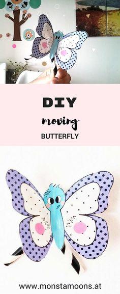 Monstamoons, Schmetterlinge basteln, DIY butterfly, fliegender SChmetterling, Basteln für den Frühling, spring crafts, butterfly crafts