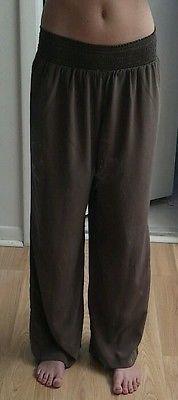 Tommy Bahama 100% Silk Lounge Pants Elastic Waist Boho Brown Casual M
