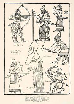 1929 Print Ancient Assyria Middle Eastern King Royalty Archery Decorative XDF2