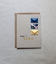 Card Size: 5 x 7 Envelope: A7 100% recycled kraft brown envelope Paper: Cards printed on 80# 100% recycled, taupe brown fiber card stock. Tiny Envelope size: Approx. 1 x 1.5 Features 3 tiny envelopes each with a tiny blank card for writing your own messages. Packaged in a clear