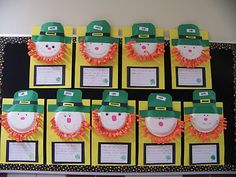 Using paper plates to create Leprechaun faces is fun way to add a 3 dimensional effect to a St. Patrick's Day bulletin board