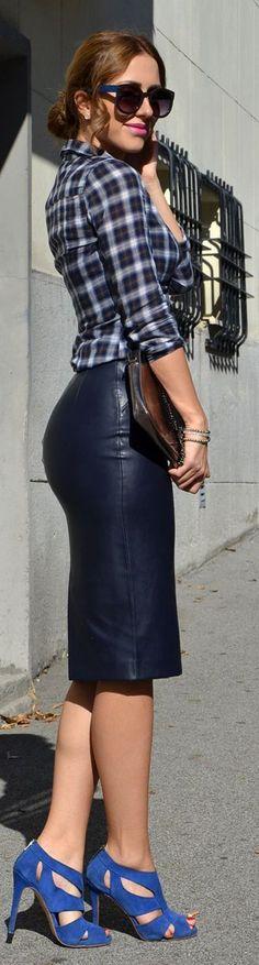 Black Faux Leather Pencil Midi Skirt - Chic Street...