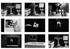 Duane Michals story boarding with multiple frames hand written captions to show a narrative  interesting play with linear time