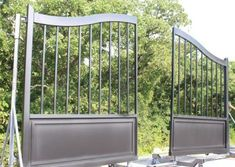 These sleek, modern, satin-black custom gates are headed to a driveway in Florida. Check out more pictures of this gate. We'd love to help you with your dream gate! #aberdeengate Iron Gate Design, Security Gates, Custom Gates, Modern Ranch, Driveway Gate, Iron Art, Modern Traditional, Aberdeen, Ranch Style