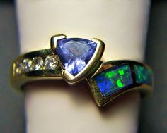 14k Gold Opal Tanzanite and Diamond Ring