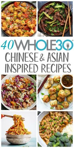 40 Chinese & Asian Inspired Recipes: Paleo, Low Carb, Gluten Free Recipes - Whole Kitchen Si - These Chinese recipes include asian inspired takeout-fakeout recipes that are healthy, pale - Healthy Asian Recipes, Paleo Recipes Easy, Whole 30 Recipes, Gluten Free Recipes, Sugar Free Recipes Dinner, Asian Dinner Recipes, Kid Recipes, Recetas Whole30, Slow Cooker