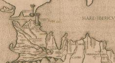 El Estrecho de Gibraltar, señalado con una columna, bañado por el Mar Hispanicus.Aparece Cádiz como una isla
