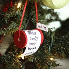 """How to make a Christmas wish list ornament on a spool... or could use family names as """"Santa's list"""""""