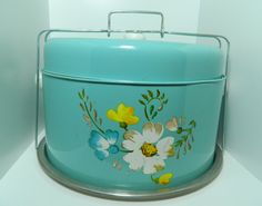 @ the green apple Dollar Items, Cake Carrier, Cake Platter, Blue Cakes, Retro Baby, Cake Cover, Retro Flowers, Cottage Style, Flower Designs