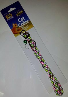 12 Inch Braided Cat Collar with Bell Adjustable .5 Inch Width