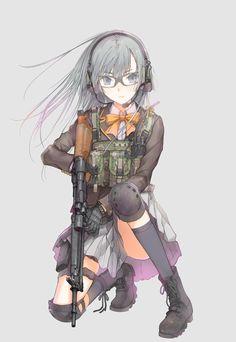 Anime girl with gun Anime Military, Military Girl, Kawaii Anime Girl, Anime Girls, Anime Fantasy, Fan Anime, Anime Art, Manga Girl, Girls In Love