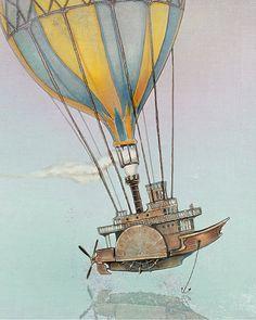 PRINT - Hot Air Ballons - Fantasy Art -Red Purple Green - giclée Fantasy Wall Art Print - Steampunk Art - Victorian Art