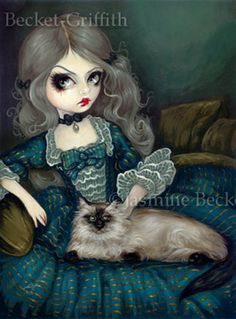 Big Eye Gothic and Rococo Cat Art:  Princess with a Himalayan Cat by Jasmine Becket-Griffith