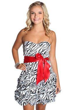 Zebra Striped Mini Dress Prom