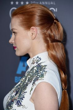 Jessica Chastain wins the award for best braid at the Critics Choice Awards.