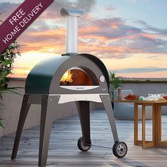 Alfa Forno Ciao Wood Burning Pizza Oven On Cart - Green available at BBQ Guys. Hand crafted in Italy, Alfa pizza ovens combine old world. Portable Pizza Oven, Pizza Oven Outdoor, Outdoor Cooking, Outdoor Kitchens, Wood Burning Oven, Wood Fired Oven, Wood Fired Pizza, Pizza Four, Small Pizza