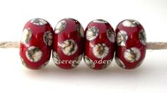 Red SILVERED Ivory Polka Dots Lampwork Glass Bead Set by taneres, $9.00