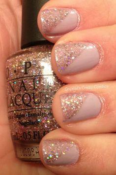 Weddbook ♥ Creative and unique wedding nail design. Sparkle wedding nail design. Modern bridal nails (via cute polish) - Bridal nail designs. sparkle glitter pink pale polish nail