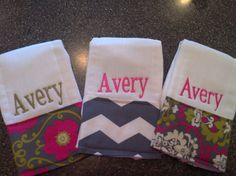 Personalized Burp Cloths for GirlsSet of 3 by SooieStitches, $20.00