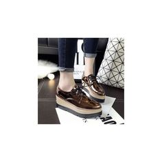 Metallic Platform Oxfords ($44) ❤ liked on Polyvore featuring shoes, oxfords, footware, black platform oxfords, metallic shoes, leather platform shoes, mid-heel shoes and oxford shoes