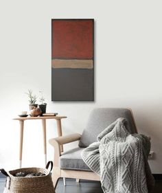 EZEKiEL original abstract modern painting - gallery fine art - contemporary interior design - ooak home wall decor - black red neutral. $150.00, via Etsy.