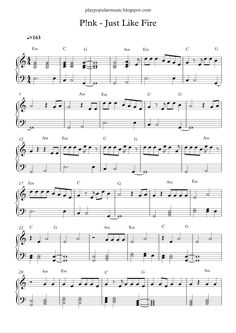 Free piano sheet music:  P!nk - Just Like Fire.pdf     No one can be just like me any way, just like magic, I'll be flying free.       Jus...