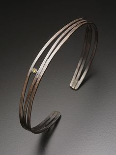Hammered Cuff with Yellow Diamond by Randi Chervitz: Silver & Stone Bracelet available at http://www.artfulhome.com