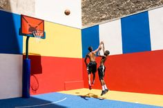 Design firm Ill-Studio and French fashion brand Pigalle update a basketball court with a bold primary color scheme Ill Studio, Pigalle Basketball, Soccer Ball, Basketball Court, Basketball Diaries, Sports Court, Baskets, Basketball Equipment, Paris Love