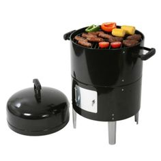 This dual-level charcoal grill and combined smoker from Bar-Be-Quick offers you 4 great cooking methods in one stylish package. You'll be able to smoke, barb. Portable Barbecue, Barbecue Grill, Grilling, Charcoal Grill Smoker, Portable Charcoal Grill, Bbq Tools, Cooking On The Grill, Catering