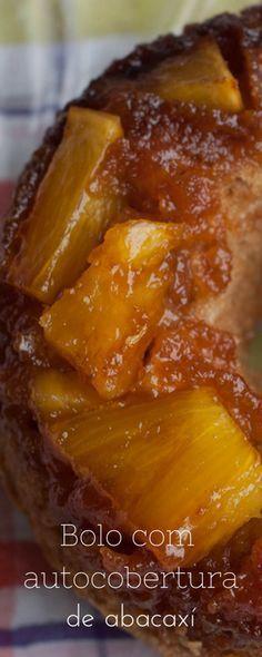 Receita de bolo de abacaxi com auto cobertura! Receita fácil