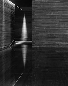 Thermal Baths by Peter Zumthor- In contrast to other architects today (Herzog de Meuron and Steven Holl) who create bold statements with light, Zumthor has a quiet touch-creating simple moments of complementation and beauty