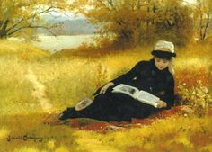 ✉ Biblio Beauties ✉ paintings of women reading letters & books - James Wells Champney
