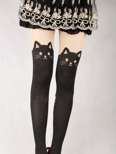 Japanese Kawaii cat tattoo tights