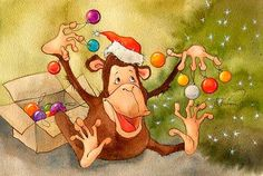 VK is the largest European social network with more than 100 million active users. Christmas And New Year, Christmas Diy, Christmas Decorations, Xmas, Illustrations, Illustration Art, Paint Monkey, Monkey Drawing, Winter Art