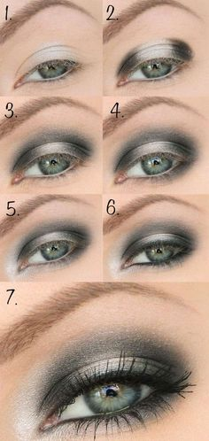 schön geschminkte augen abend makeup grau silber