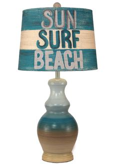 """In ombre beach stripes from sea sand beige to aqua blue, this hand-created Sun-Surf-Beach Lamp will make any room feel a little bit more surfer chic! Standing at 28.5"""""""" tall, with soft coastal shades,"""