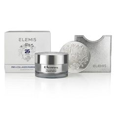A Silver Edition Marine Cream, created in celebration of ELEMIS' 25th anniversary with a unique gel-cream texture and anti-ageing marine actives. Packaged with a sachet sample of the NEW Pro-Collagen Marine Cream Ultra-Rich and a 25 year logo embossed mirror in a silver box