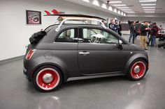 View detailed pictures that accompany our Mopar Fiat SEMA 2012 article with close-up photos of exterior and interior features. Fiat 500c, Fiat Abarth, Mopar, Car Racks, Wooden Car, Audi A5, Nissan 370z, Lamborghini Gallardo, Drag Racing